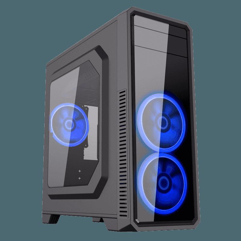 GAB GAMEMAX G561 BLACK ATX FAN AZUL X3