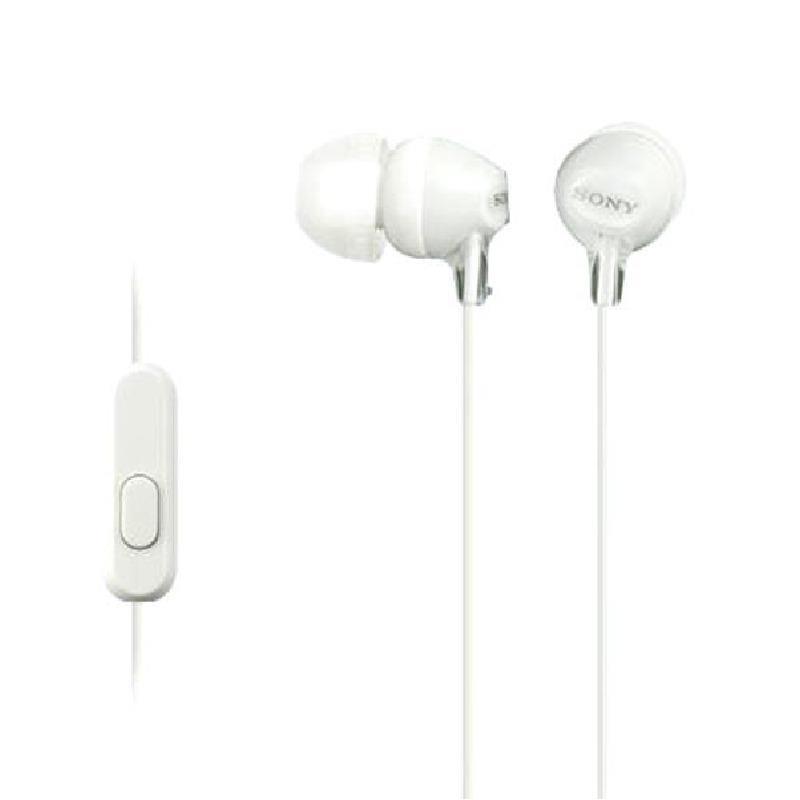 Auricular Sony Mdr-Ex15apwzuc in ear con microfono blanco.