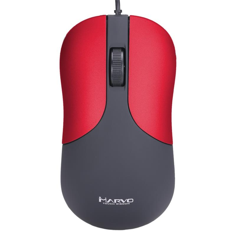 MOUSE MARVO DMS002GY 1200DPI USB CABLEADO RED