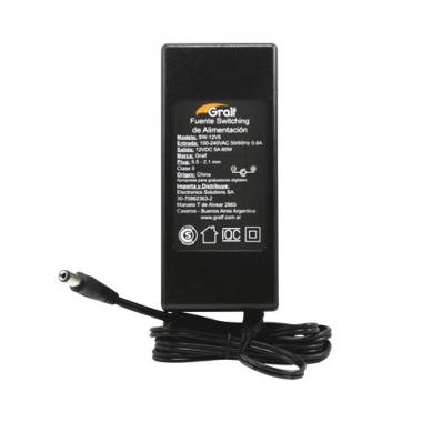 Fuente Switching 12V 5A DC Plug 5.5-2.1mm